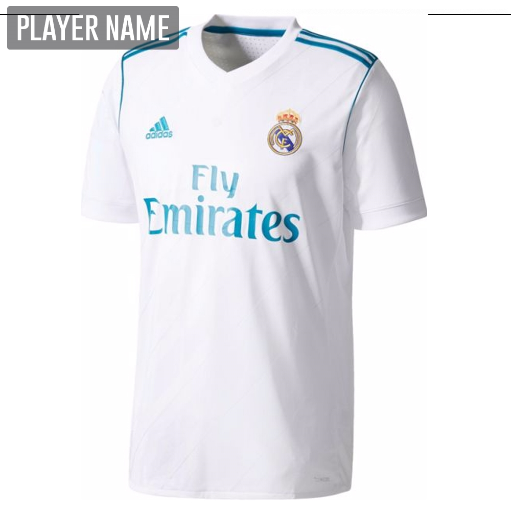 brand new bc6a5 33d19 Adidas Real Madrid Authentic Home '17-'18 Soccer Jersey (White/Vivid Teal)