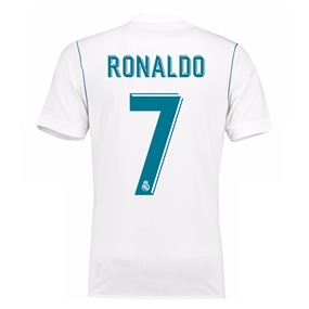 Adidas Real Madrid Authentic 'RONALDO 7' Home '17-'18 Soccer Jersey (White/Vivid Teal)
