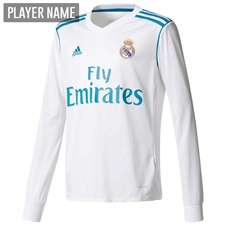 Adidas Real Madrid Home '17-'18 Long Sleeve Soccer Jersey (White/Vivid Teal)