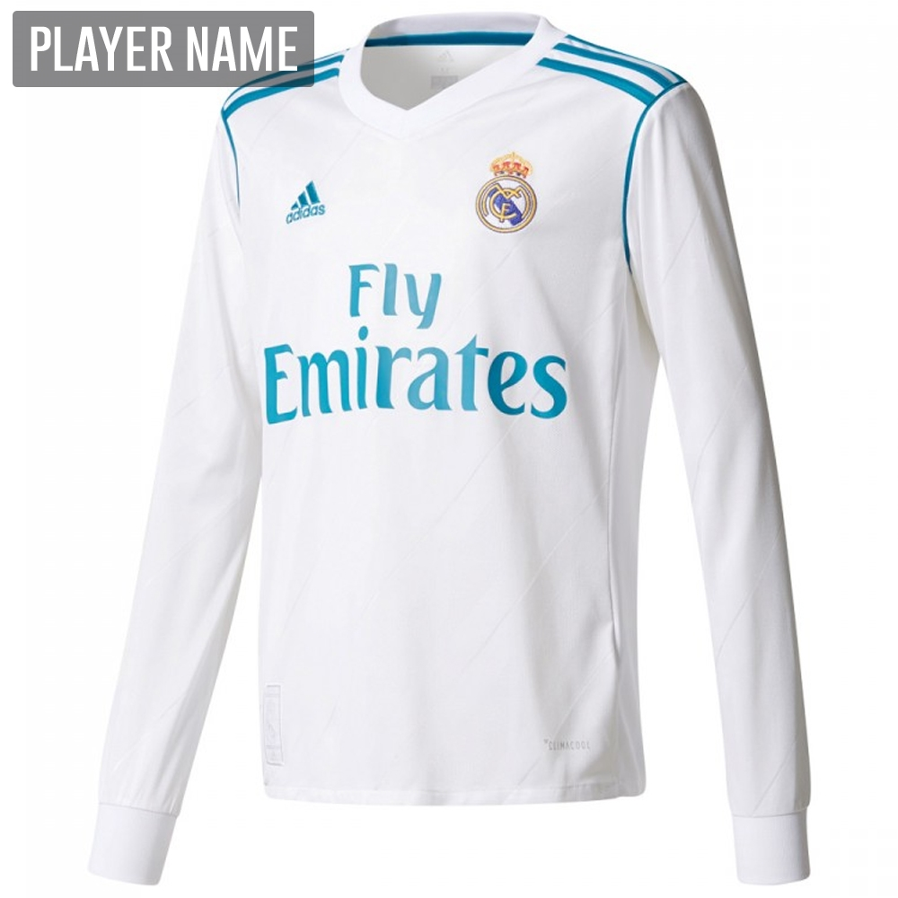 Adidas Real Madrid Home  17- 18 Long Sleeve Soccer Jersey (White ... 0f372aa63