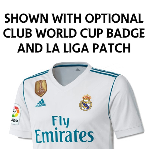 2c3d54660dd Adidas Real Madrid Home  17- 18 Long Sleeve Soccer Jersey (White Vivid Teal)