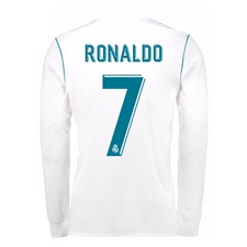 Adidas Real Madrid 'RONALDO 7' Home '17-'18 Long Sleeve Soccer Jersey (White/Vivid Teal)