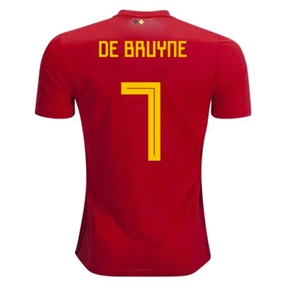 Adidas Belgium 'DE BRUYNE 7' Home Jersey '18-'19 (Vivid Red/Power Red/Bold Gold)