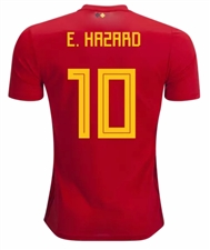 Adidas Belgium 'E. HAZARD 10' Home Jersey '18-'19 (Vivid Red/Power Red/Bold Gold)