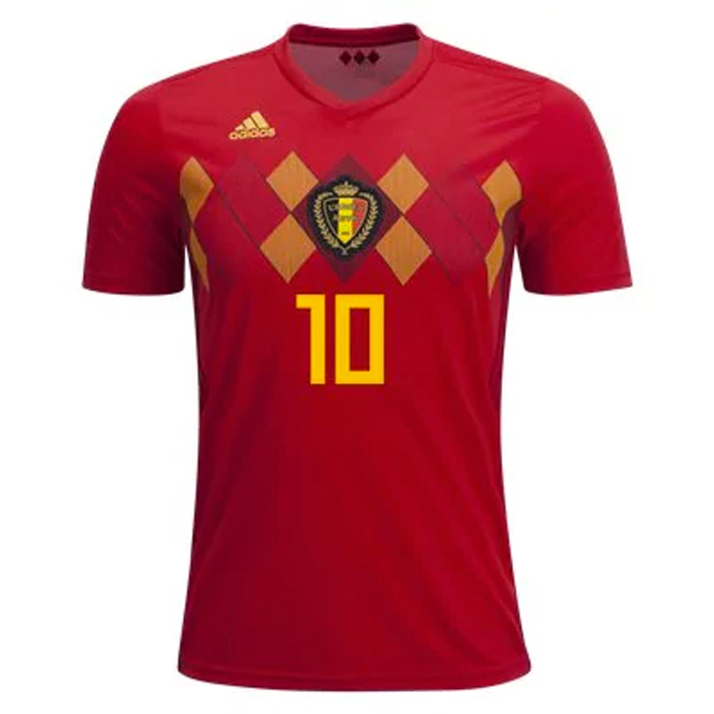 huge selection of 5bb9a 961b3 Adidas Belgium 'E. HAZARD 10' Home Jersey '18-'19 (Vivid Red/Power Red/Bold  Gold)