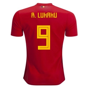 Adidas Belgium 'R. LUKAKU 9' Home Jersey '18-'19 (Vivid Red/Power Red/Bold Gold)
