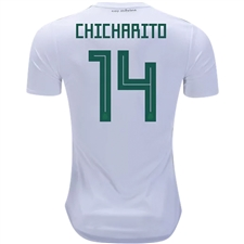 Adidas Mexico 'CHICHARITO 14' Away Jersey '18-'19 (White/Collegiate Green/Burgundy)
