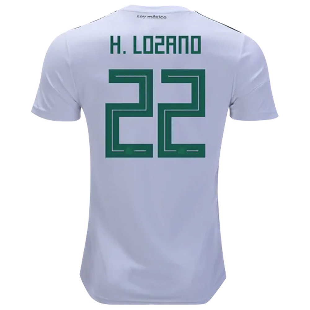 timeless design a93ca 2b80b Adidas Mexico 'H. LOZANO 22' Away Jersey '18-'19 (White/Collegiate  Green/Burgundy)
