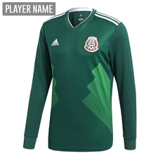Adidas Mexico Home Long Sleeve Jersey '18-'19 (Collegiate Green/White)
