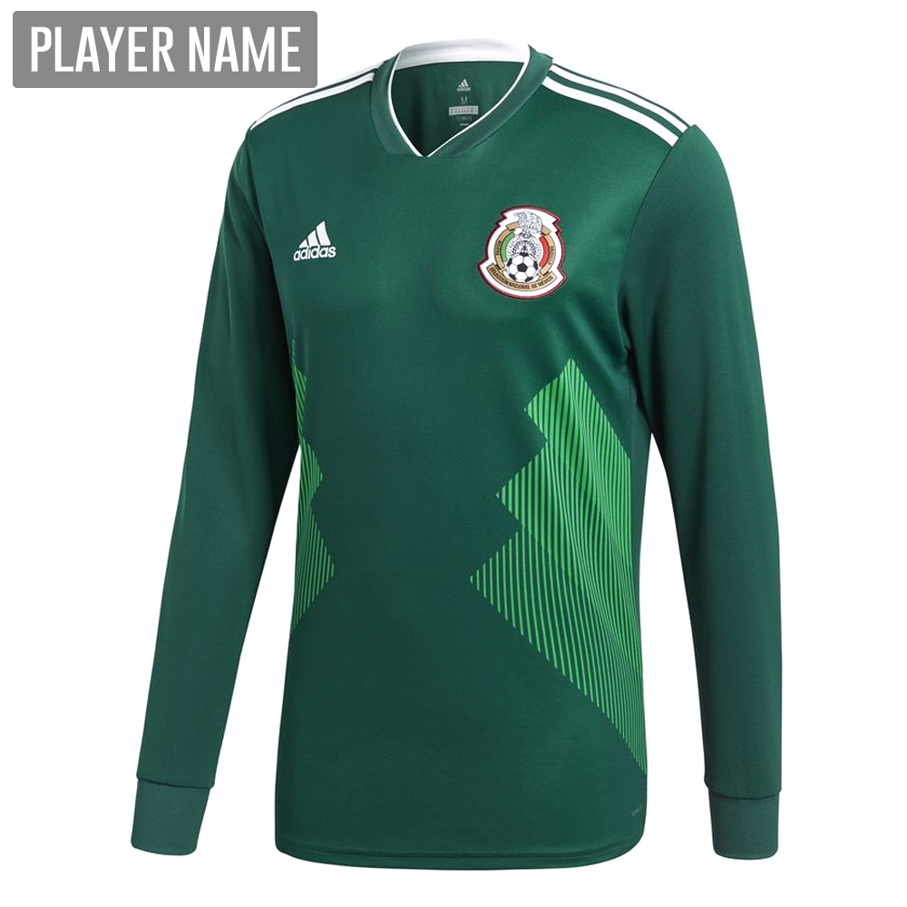 b77c58eca31 Adidas Mexico Home Long Sleeve Jersey  18- 19 (Collegiate Green ...