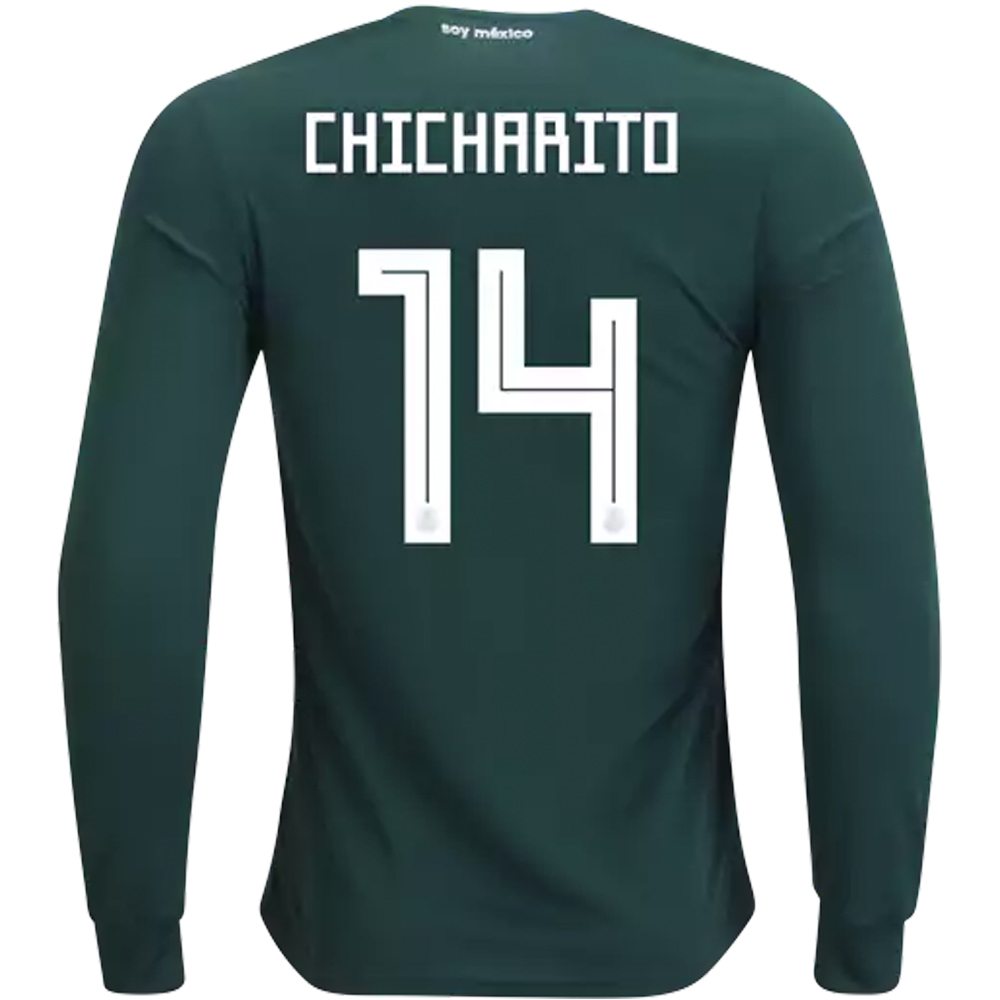 9749dc23d ... inexpensive adidas mexico chicharito 14 home long sleeve jersey 18 19  f77df 7fe7c