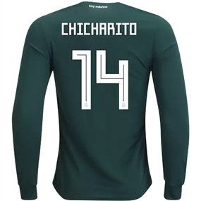 Adidas Mexico 'CHICHARITO 14' Home Long Sleeve Jersey '18-'19 (Collegiate Green/White)