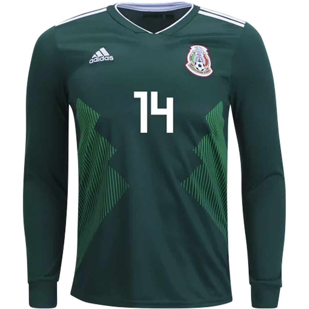 7a77f9a86 Adidas Mexico  CHICHARITO 14  Home Long Sleeve Jersey  18- 19 ...