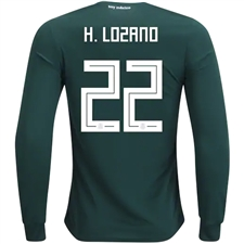 Adidas Mexico 'H. LOZANO 22' Home Long Sleeve Jersey '18-'19 (Collegiate Green/White)