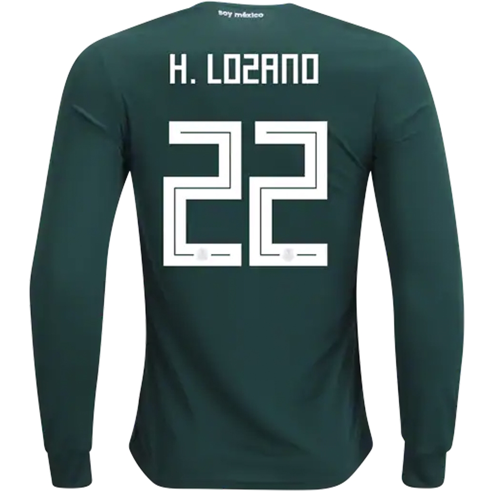 buy popular 830cc b15b6 Adidas Mexico 'H. LOZANO 22' Home Long Sleeve Jersey '18-'19 (Collegiate  Green/White)