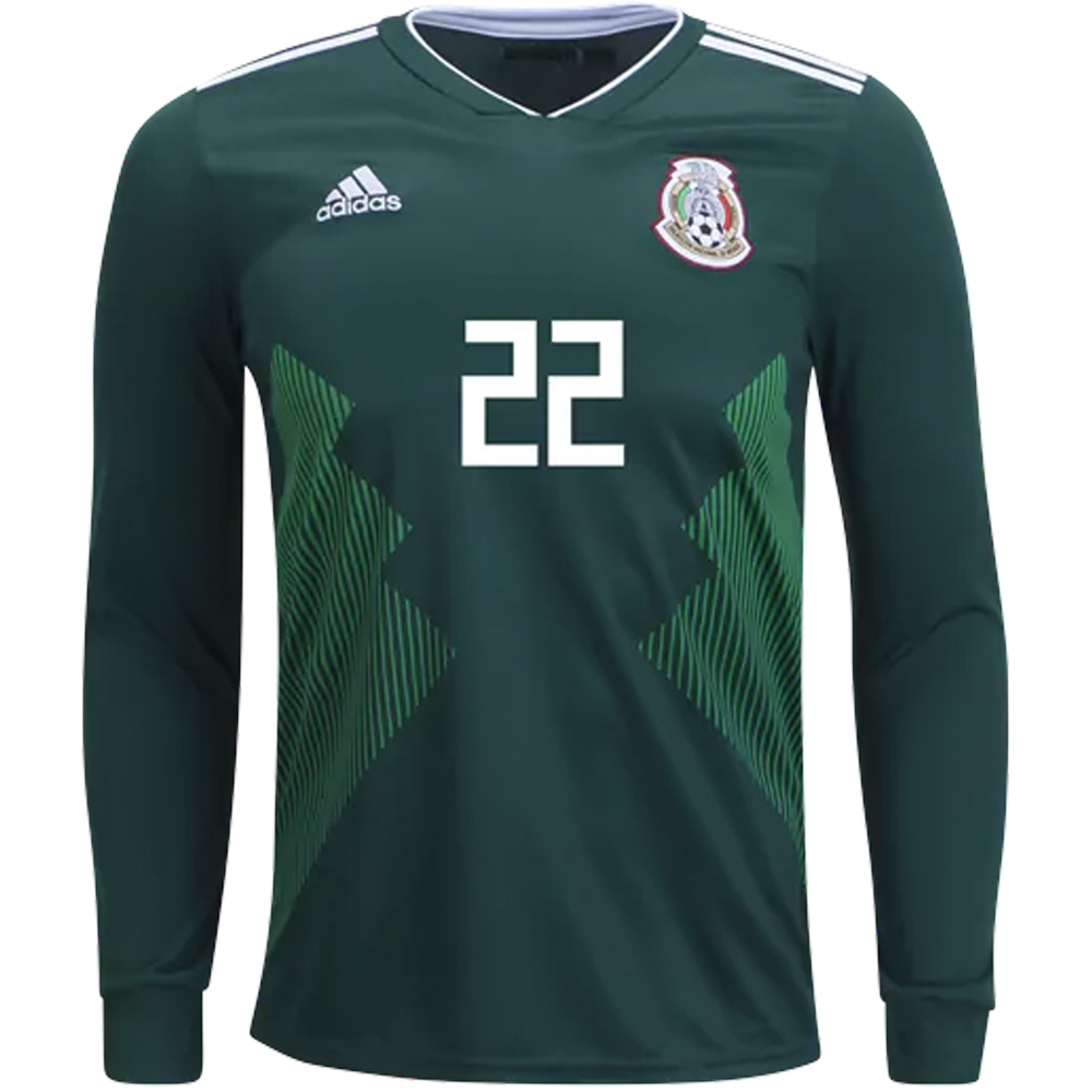 buy popular ccaf7 b5103 Adidas Mexico 'H. LOZANO 22' Home Long Sleeve Jersey '18-'19 (Collegiate  Green/White)