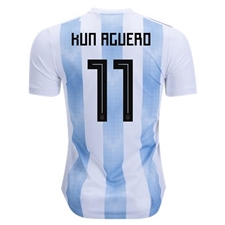 Adidas Argentina 'AGUERO 11' Home Jersey '18-'19 (White/Clear Blue/Black)