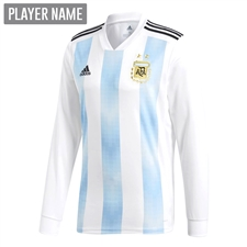 Adidas Argentina Home Long Sleeve Jersey '18-'19 (White/Clear Blue/Black)