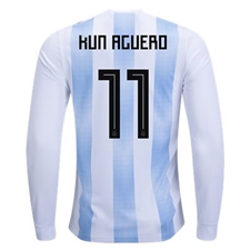 Adidas Argentina 'AGUERO 11' Home Long Sleeve Jersey '18-'19 (White/Clear Blue/Black)