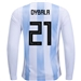 Adidas Argentina 'DYBALA 21' Home Long Sleeve Jersey '18-'19 (White/Clear Blue/Black)