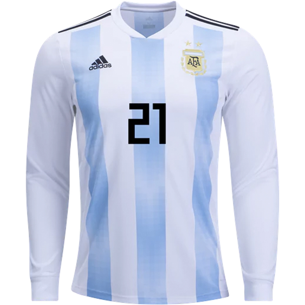 buy popular 01075 4ca11 Adidas Argentina 'DYBALA 21' Home Long Sleeve Jersey '18-'19 (White/Clear  Blue/Black)