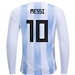 Adidas Argentina 'MESSI 10' Home Long Sleeve Jersey '18-'19 (White/Clear Blue/Black)