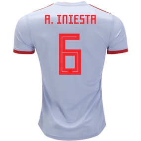 Adidas Spain 'A. INIESTA 6' Away Jersey '18-'19 (Halo Blue/Bright Red)