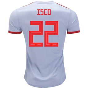Adidas Spain 'ISCO 22' Away Jersey '18-'19 (Halo Blue/Bright Red)