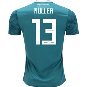 Adidas Germany 'MULLER 13' Away Jersey '18-'19 (EQT Green/White/Real Teal)