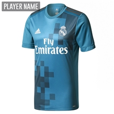 Adidas Real Madrid Third '17-'18 Soccer Jersey (Vivid Teal/Solar Green/White)