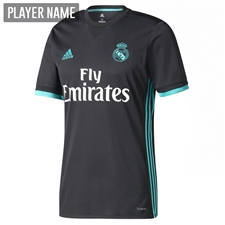 Adidas Real Madrid Away '17-'18 Soccer Jersey (Black/Aero Reef)