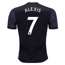 Adidas Manchester United 'ALEXIS 7' Away '17-'18 Soccer Jersey (Black/White/Sharp Grey)