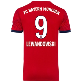 Adidas Bayern Munich 'LEWANDOWSKI 9' Home Jersey '18-'19 (FCB True Red/Strong Red/White)