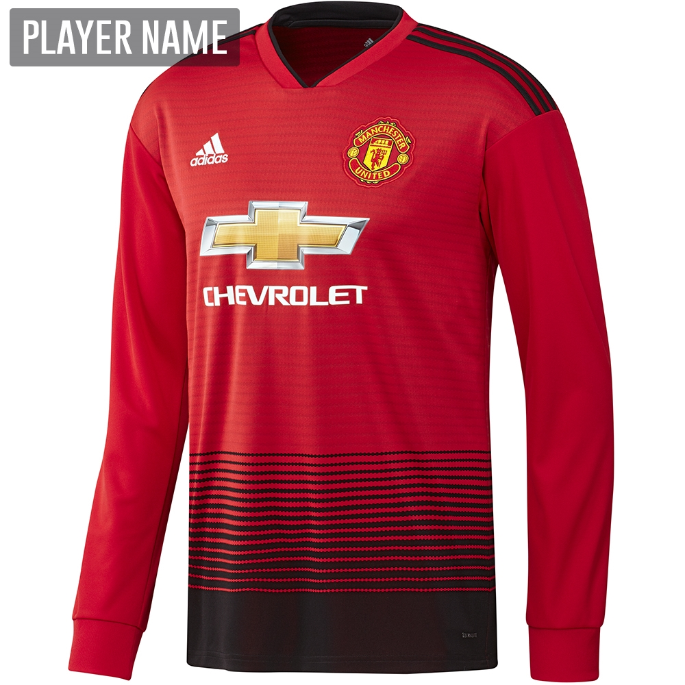 d69379aae36 Adidas Manchester United Home Long Sleeve Jersey  18- 19 (Real Red ...