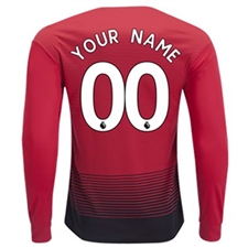 Adidas Manchester United 'CUSTOM' Home Long Sleeve Jersey '18-'19 (Real Red/Black)