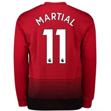 Adidas Manchester United 'MARTIAL 11' Home Long Sleeve Jersey '18-'19 (Real Red/Black)