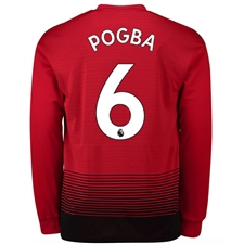 Adidas Manchester United 'POGBA 6' Home Long Sleeve Jersey '18-'19 (Real Red/Black)