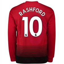 Adidas Manchester United 'RASHFORD 10' Home Long Sleeve Jersey '18-'19 (Real Red/Black)