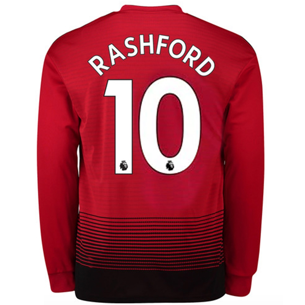 the best attitude 1b8f6 960d4 Adidas Manchester United 'RASHFORD 10' Home Long Sleeve Jersey '18-'19  (Real Red/Black)