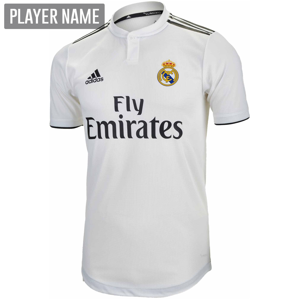 ba6e2aeed Adidas Real Madrid Home Authentic Jersey  18- 19 (Core White Black ...