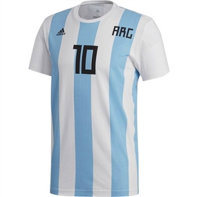 Adidas Men's 2018 FIFA World Cup Argentina Messi 10 T-Shirt (White)