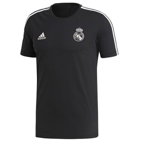 Adidas Real Madrid 3 Stripes T-Shirt (Black/White)