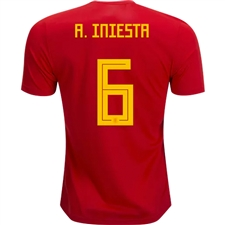 Adidas Spain 'A. INIESTA 6' Home Jersey '18-'19 (Red/Bold Gold)
