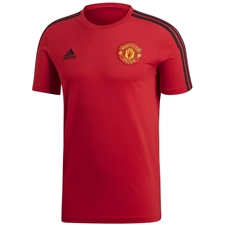 Adidas Manchester United 3 Stripes T-Shirt (Real Red/Black)