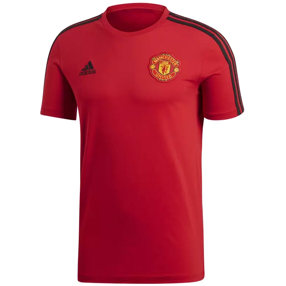 brand new edbca a9930 Adidas Manchester United 3 Stripes T-Shirt (Real Red/Black)