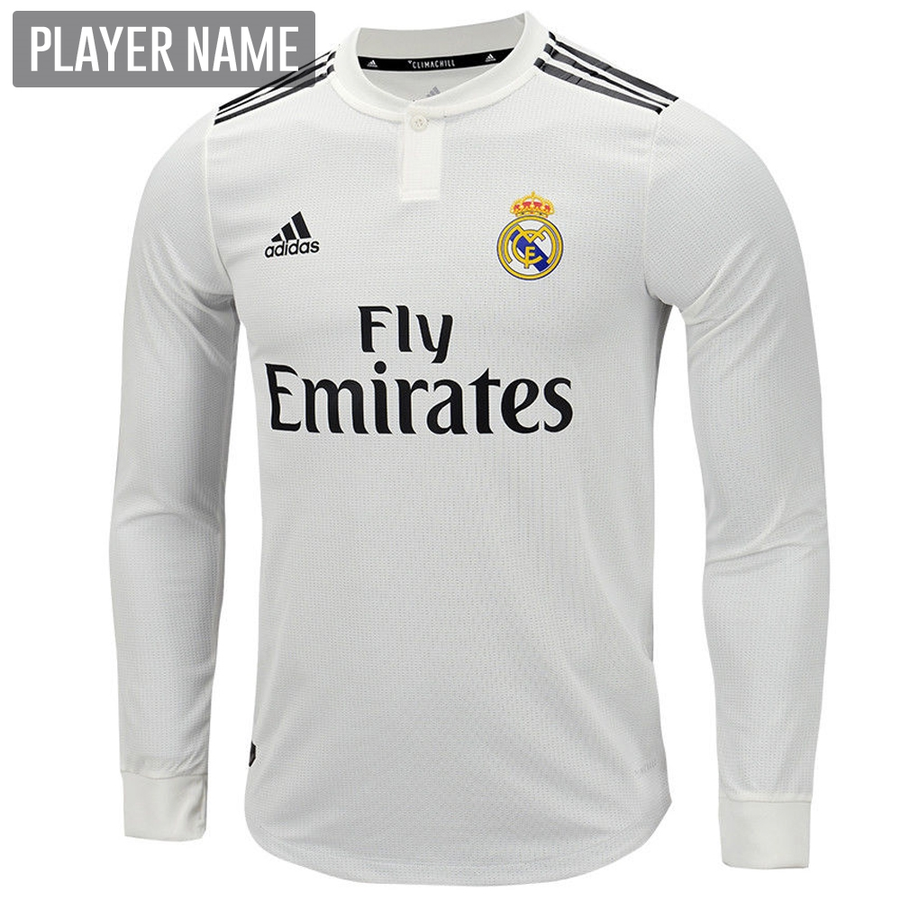new products 2a0a0 9c939 Adidas Real Madrid Home Authentic Long Sleeve Jersey '18-'19 (Core  White/Black)