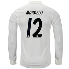 Adidas Real Madrid 'MARCELO 12' Home Authentic Long Sleeve Jersey '18-'19 (Core White/Black)