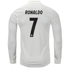 Adidas Real Madrid 'RONALDO 7' Home Authentic Long Sleeve Jersey '18-'19 (Core White/Black)