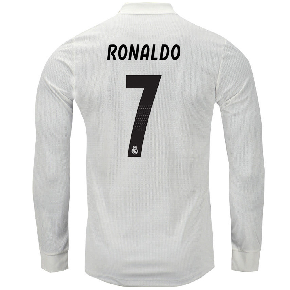 timeless design f8899 787a2 Adidas Real Madrid 'RONALDO 7' Home Authentic Long Sleeve Jersey '18-'19  (Core White/Black)