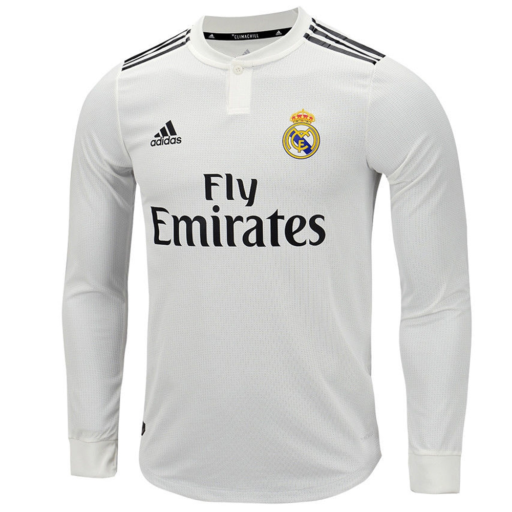 936bd7c56 ... wholesale adidas real madrid ronaldo 7 home authentic long sleeve jersey  18 19 core white black